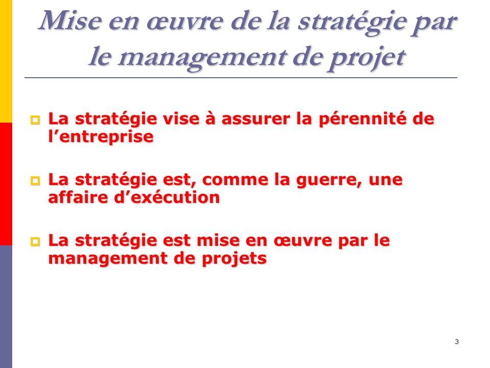 3 Mise en œuvre de la stratégie par le management de projet La stratégie vise à assurer la pérennité de lentreprise La stratégie vise à assurer la pérennité de lentreprise La stratégie est, comme la guerre, une affaire dexécution La stratégie est, comme la guerre, une affaire dexécution La stratégie est mise en œuvre par le management de projets La stratégie est mise en œuvre par le management de projets