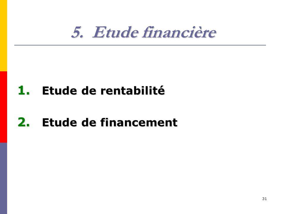 31 5.Etude financière 1. Etude de rentabilité 2. Etude de financement