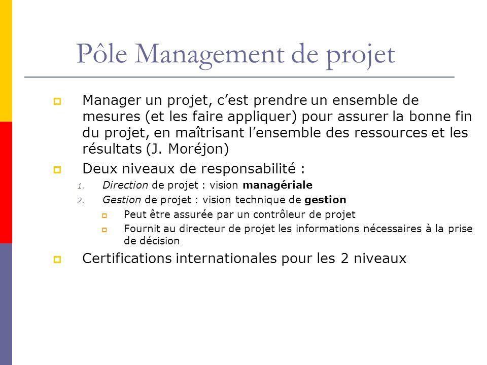 Pôle Management de projet Manager un projet, cest prendre un ensemble de mesures (et les faire appliquer) pour assurer la bonne fin du projet, en maîtrisant lensemble des ressources et les résultats (J.