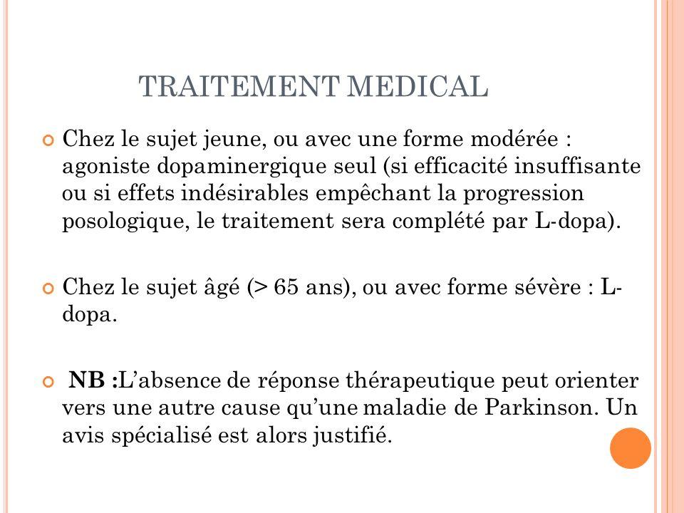 TRAITEMENT MEDICAL Chez le sujet jeune, ou avec une forme modérée : agoniste dopaminergique seul (si efficacité insuffisante ou si effets indésirables