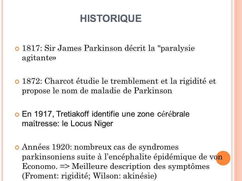 HISTORIQUE 1817: Sir James Parkinson décrit la