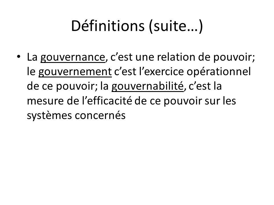Définitions (suite…) La gouvernance, cest une relation de pouvoir; le gouvernement cest lexercice opérationnel de ce pouvoir; la gouvernabilité, cest