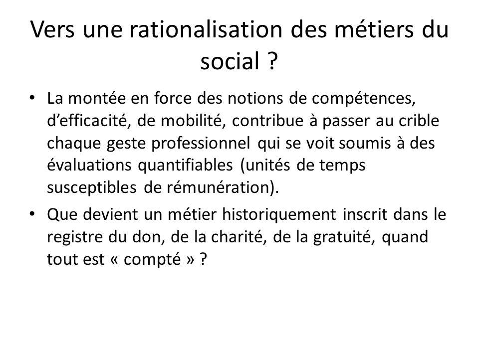 Vers une rationalisation des métiers du social ? La montée en force des notions de compétences, defficacité, de mobilité, contribue à passer au crible