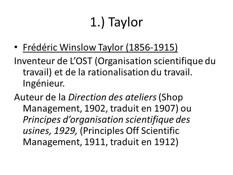 1.) Taylor Frédéric Winslow Taylor (1856-1915) Inventeur de LOST (Organisation scientifique du travail) et de la rationalisation du travail. Ingénieur