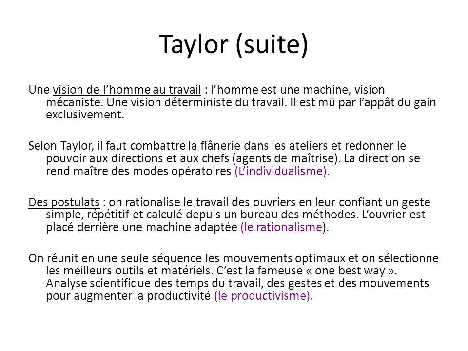 Taylor (suite) Une vision de lhomme au travail : lhomme est une machine, vision mécaniste. Une vision déterministe du travail. Il est mû par lappât du
