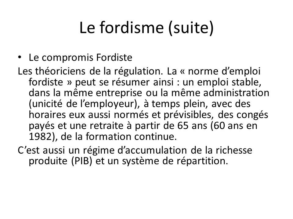 Le fordisme (suite) Le compromis Fordiste Les théoriciens de la régulation. La « norme demploi fordiste » peut se résumer ainsi : un emploi stable, da