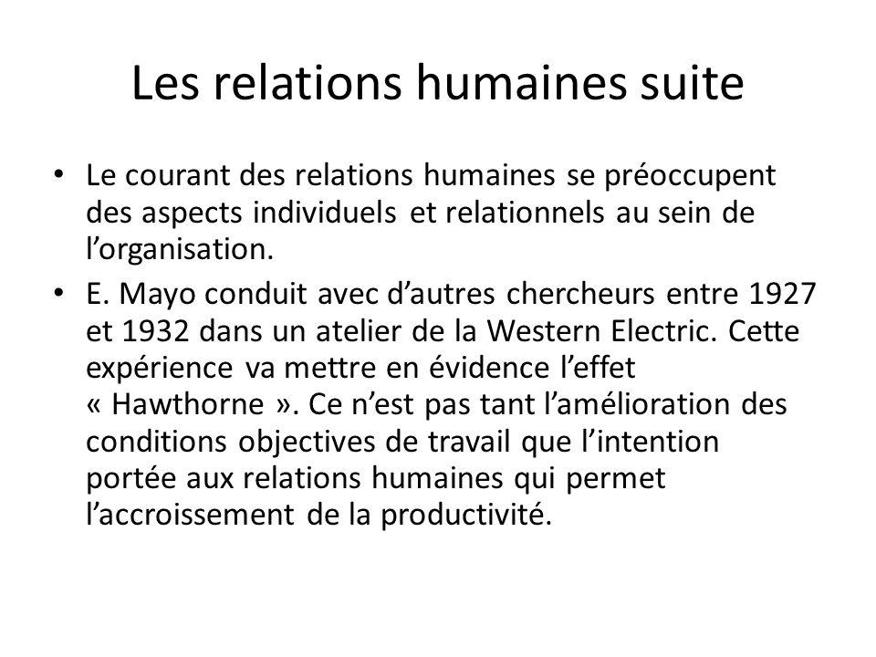 Les relations humaines suite Le courant des relations humaines se préoccupent des aspects individuels et relationnels au sein de lorganisation. E. May