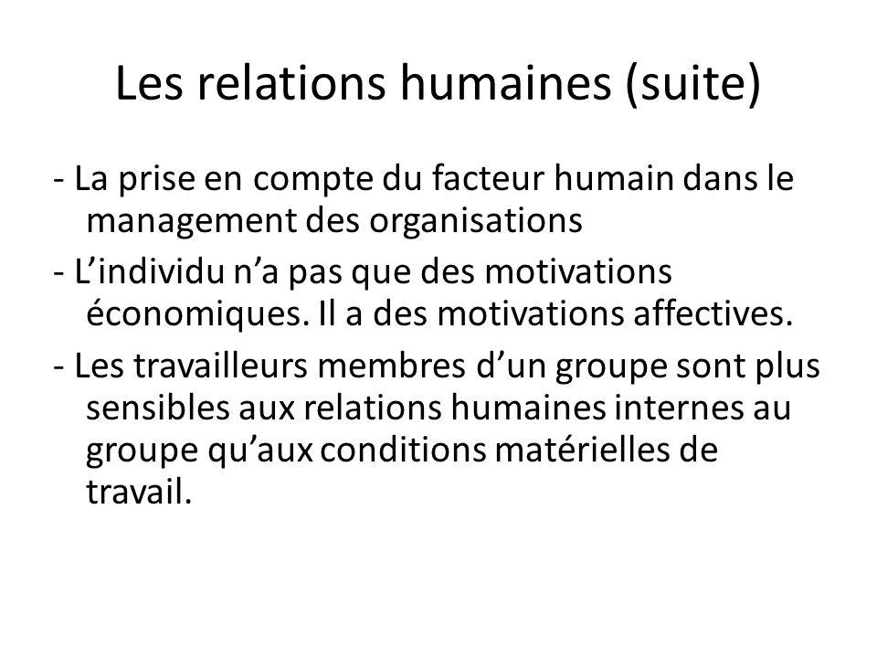 Les relations humaines (suite) - La prise en compte du facteur humain dans le management des organisations - Lindividu na pas que des motivations écon