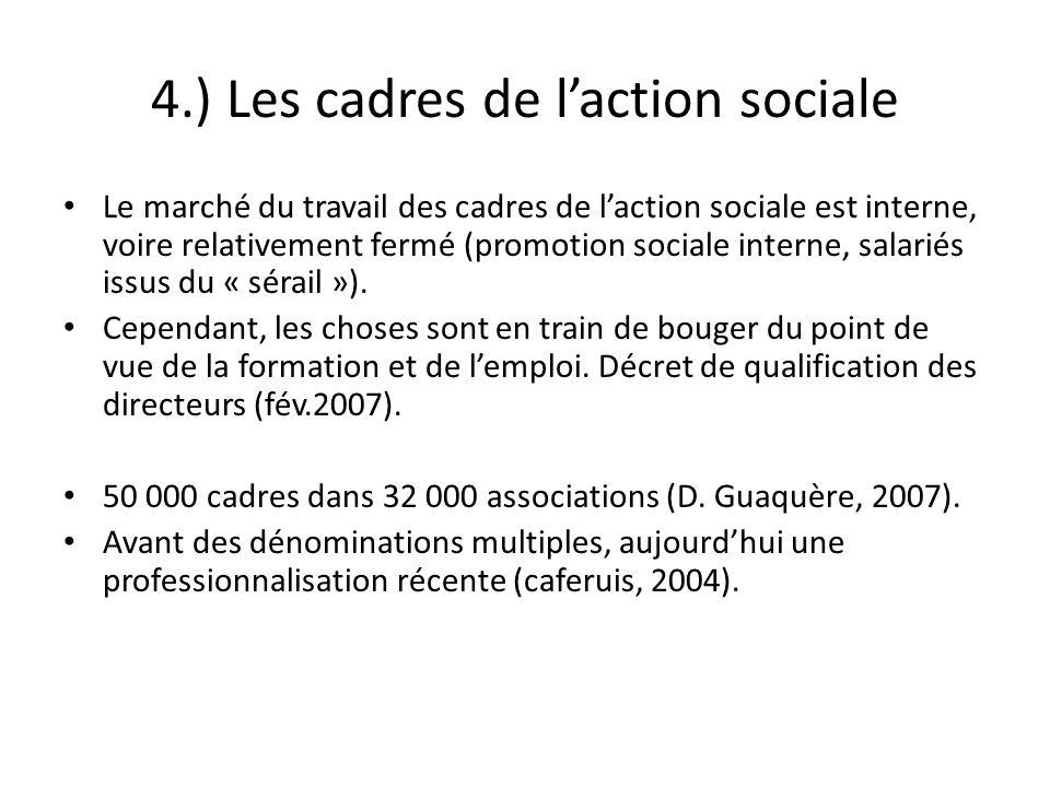 4.) Les cadres de laction sociale Le marché du travail des cadres de laction sociale est interne, voire relativement fermé (promotion sociale interne,