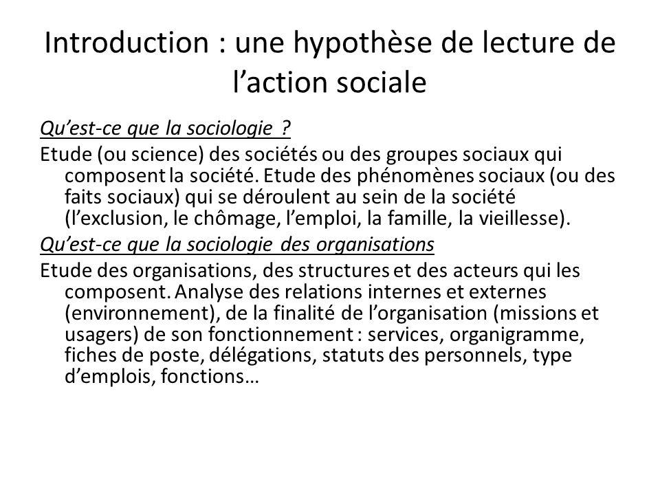 Introduction : une hypothèse de lecture de laction sociale Quest-ce que la sociologie ? Etude (ou science) des sociétés ou des groupes sociaux qui com