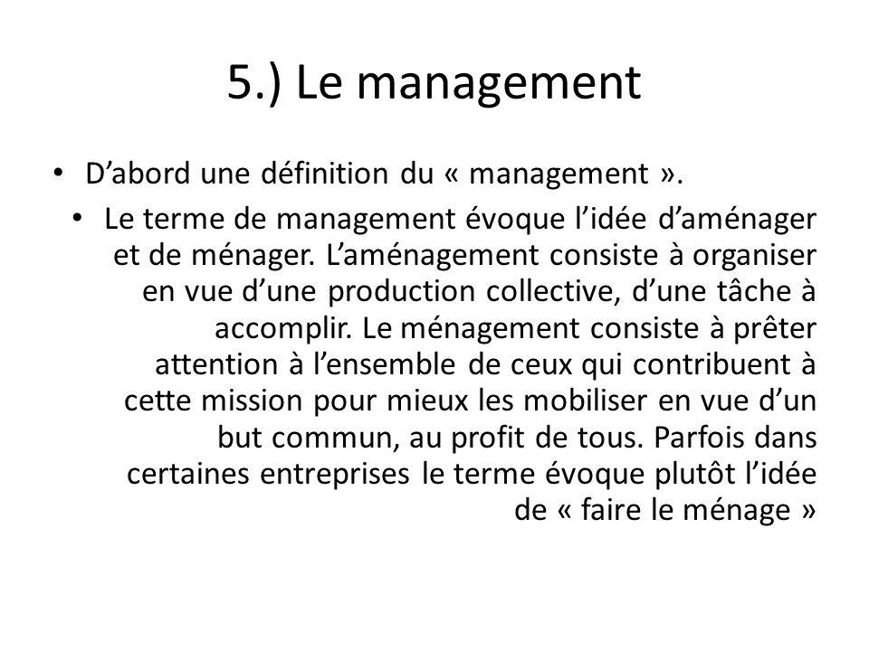 5.) Le management Dabord une définition du « management ». Le terme de management évoque lidée daménager et de ménager. Laménagement consiste à organi