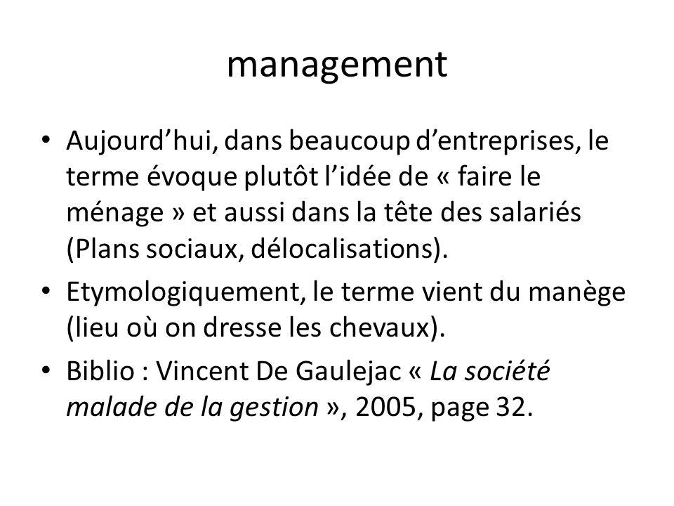 management Aujourdhui, dans beaucoup dentreprises, le terme évoque plutôt lidée de « faire le ménage » et aussi dans la tête des salariés (Plans socia