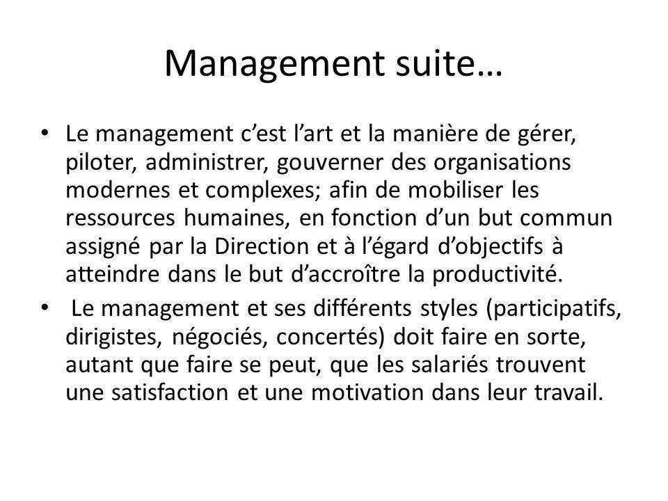 Management suite… Le management cest lart et la manière de gérer, piloter, administrer, gouverner des organisations modernes et complexes; afin de mob