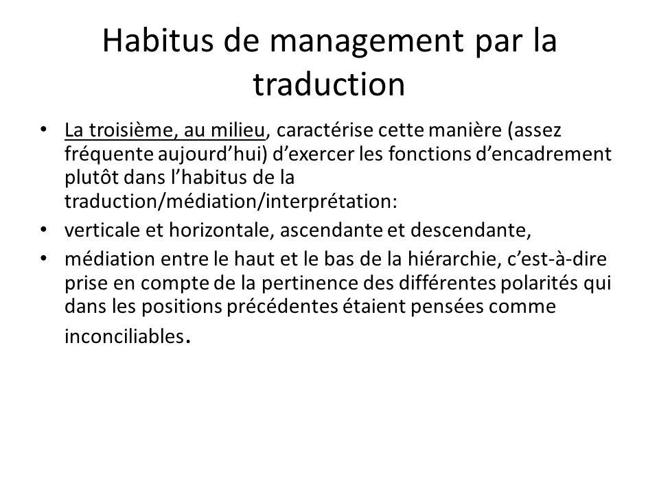 Habitus de management par la traduction La troisième, au milieu, caractérise cette manière (assez fréquente aujourdhui) dexercer les fonctions dencadr