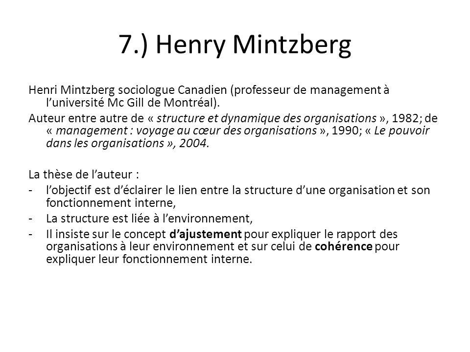 7.) Henry Mintzberg Henri Mintzberg sociologue Canadien (professeur de management à luniversité Mc Gill de Montréal). Auteur entre autre de « structur