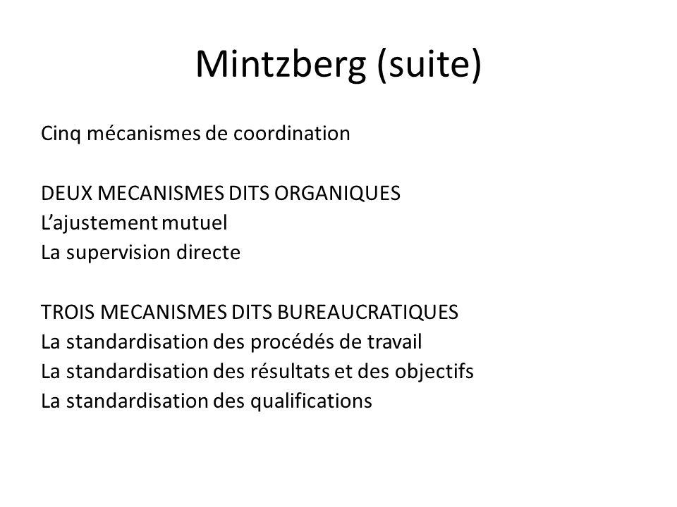 Mintzberg (suite) Cinq mécanismes de coordination DEUX MECANISMES DITS ORGANIQUES Lajustement mutuel La supervision directe TROIS MECANISMES DITS BURE