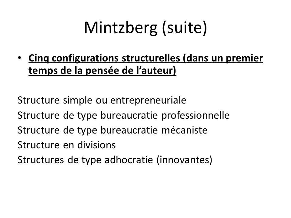 Mintzberg (suite) Cinq configurations structurelles (dans un premier temps de la pensée de lauteur) Structure simple ou entrepreneuriale Structure de