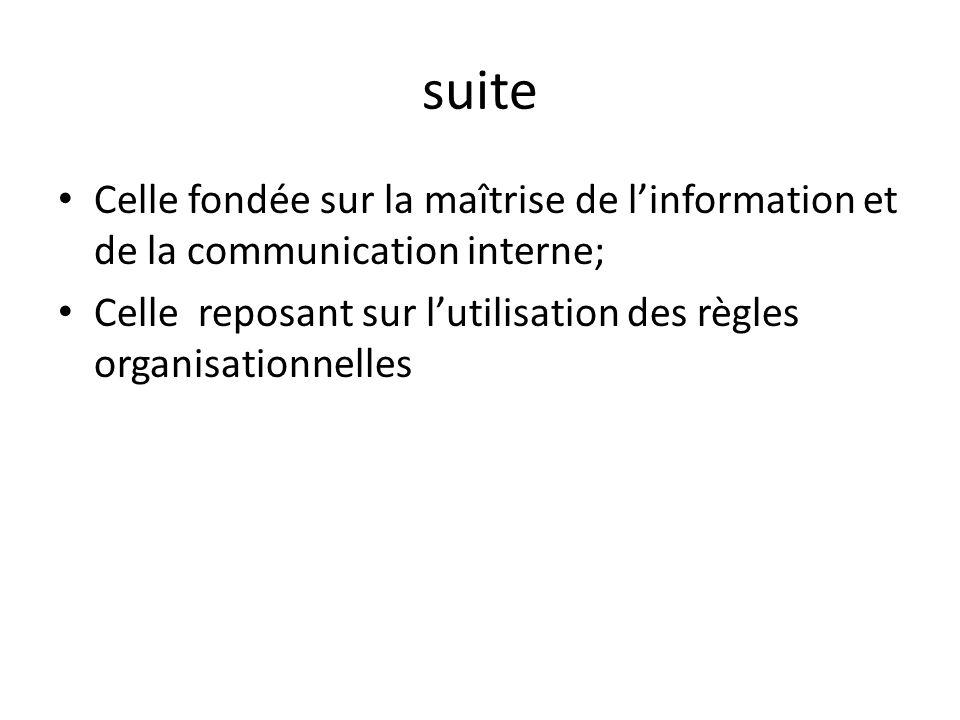 suite Celle fondée sur la maîtrise de linformation et de la communication interne; Celle reposant sur lutilisation des règles organisationnelles