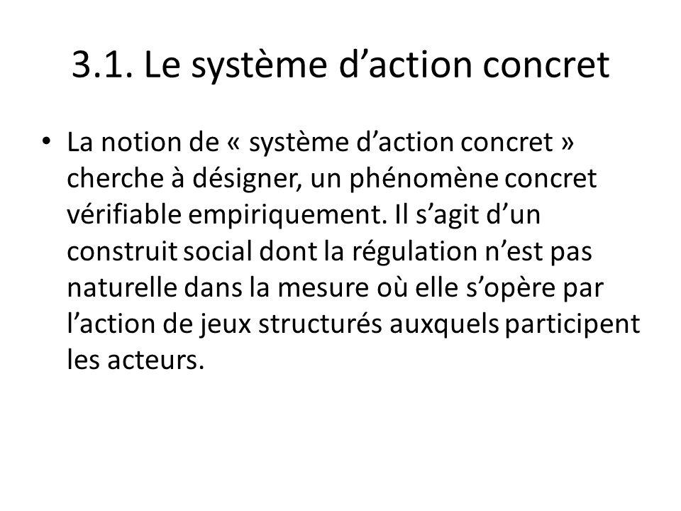 3.1. Le système daction concret La notion de « système daction concret » cherche à désigner, un phénomène concret vérifiable empiriquement. Il sagit d
