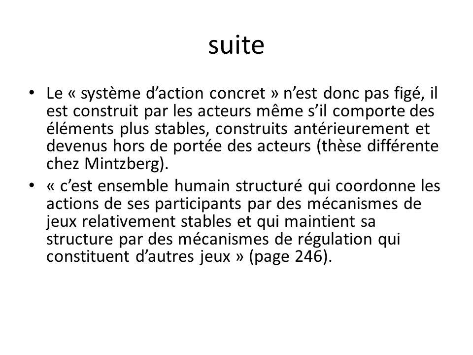 suite Le « système daction concret » nest donc pas figé, il est construit par les acteurs même sil comporte des éléments plus stables, construits anté