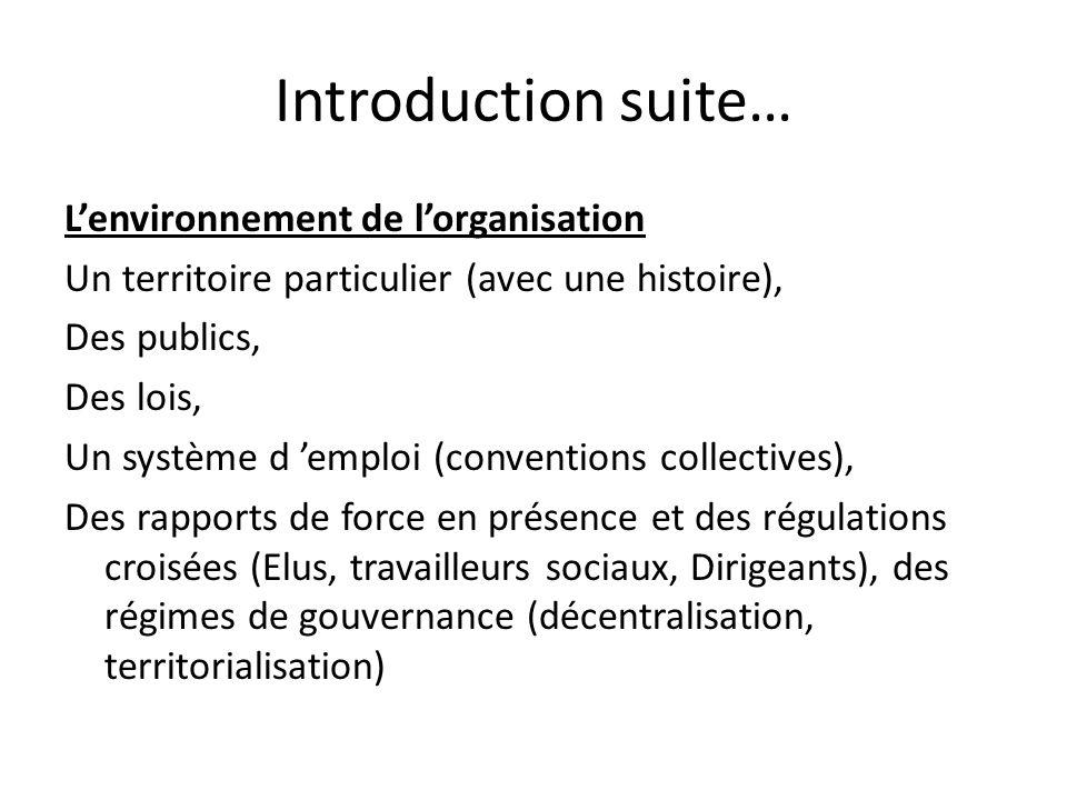 Introduction suite… Lenvironnement de lorganisation Un territoire particulier (avec une histoire), Des publics, Des lois, Un système d emploi (convent