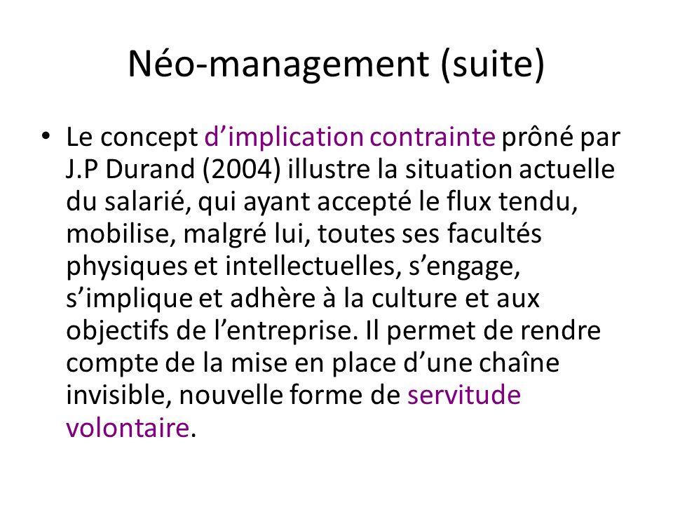 Néo-management (suite) Le concept dimplication contrainte prôné par J.P Durand (2004) illustre la situation actuelle du salarié, qui ayant accepté le