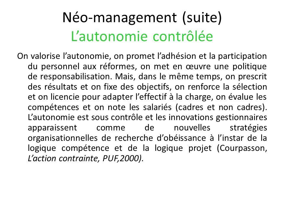Néo-management (suite) Lautonomie contrôlée On valorise lautonomie, on promet ladhésion et la participation du personnel aux réformes, on met en œuvre