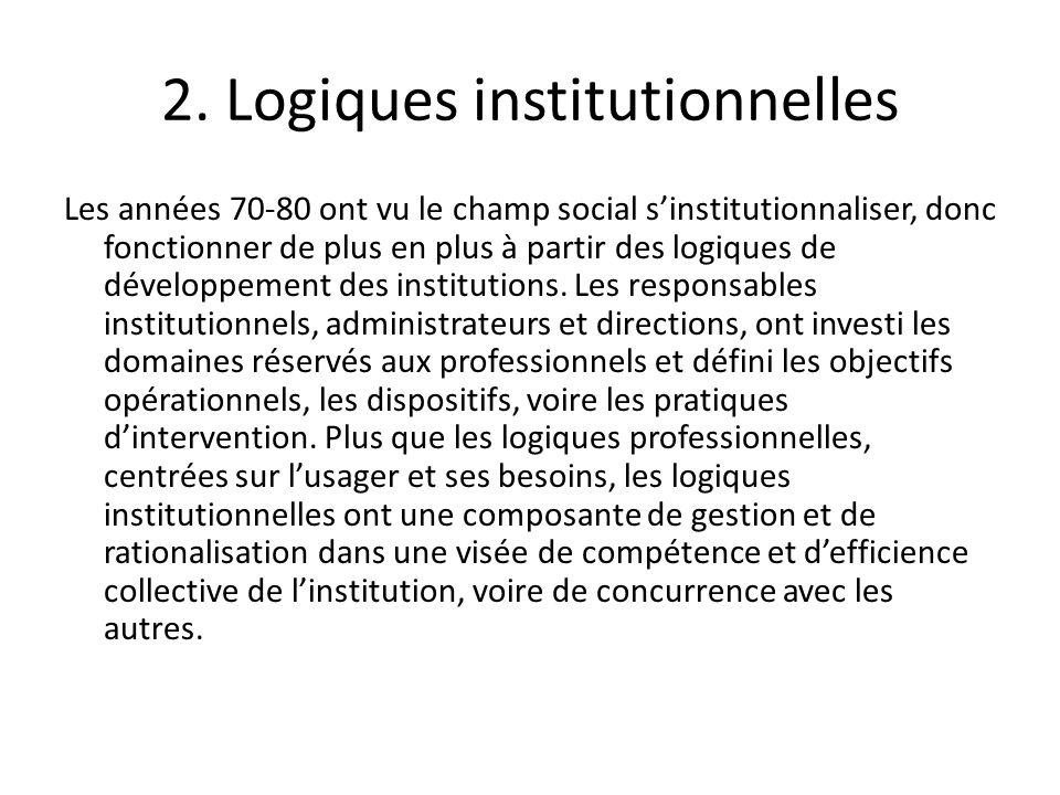 2. Logiques institutionnelles Les années 70-80 ont vu le champ social sinstitutionnaliser, donc fonctionner de plus en plus à partir des logiques de d
