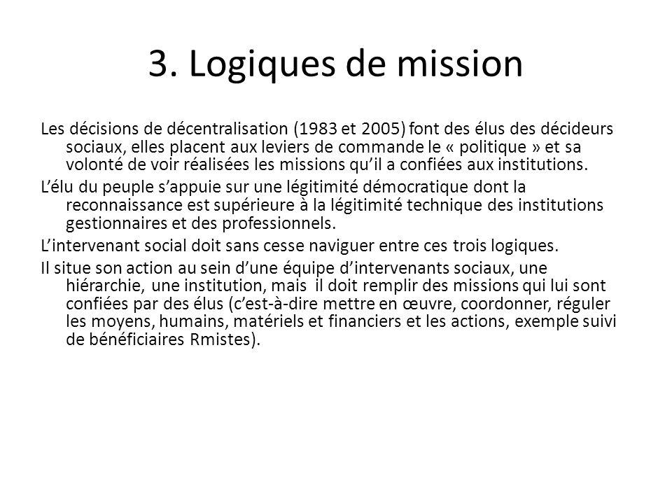 3. Logiques de mission Les décisions de décentralisation (1983 et 2005) font des élus des décideurs sociaux, elles placent aux leviers de commande le
