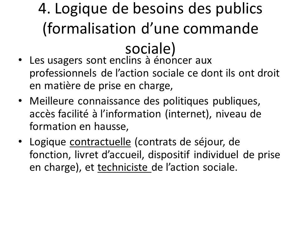 4. Logique de besoins des publics (formalisation dune commande sociale) Les usagers sont enclins à énoncer aux professionnels de laction sociale ce do