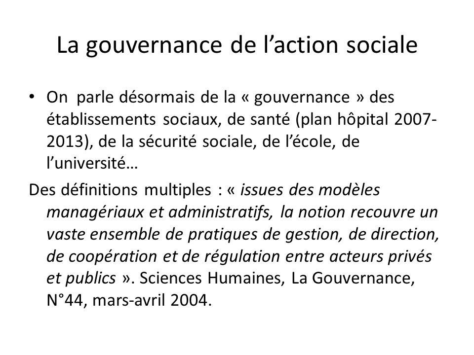 La gouvernance de laction sociale On parle désormais de la « gouvernance » des établissements sociaux, de santé (plan hôpital 2007- 2013), de la sécur