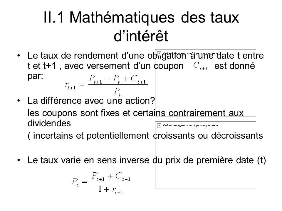 II.1 Mathématiques des taux dintérêt Le taux de rendement dune obligation à une date t entre t et t+1, avec versement dun coupon est donné par: La dif
