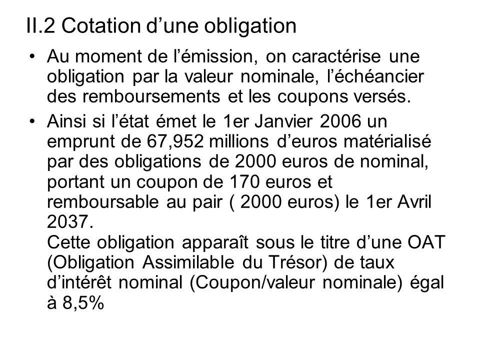 II.2 Cotation dune obligation Au moment de lémission, on caractérise une obligation par la valeur nominale, léchéancier des remboursements et les coup