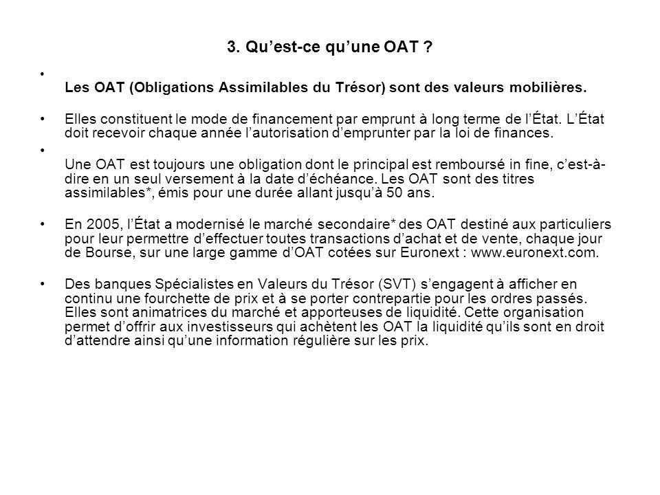 3. Quest-ce quune OAT ? Les OAT (Obligations Assimilables du Trésor) sont des valeurs mobilières. Elles constituent le mode de financement par emprunt