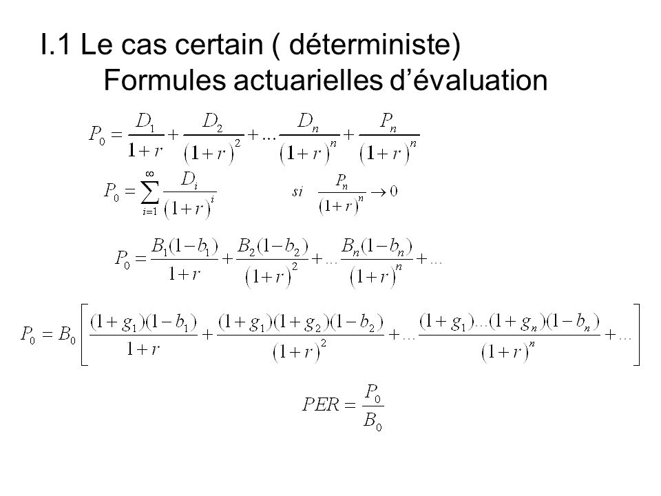 II.1 Mathématiques des taux dintérêt Le taux de rendement dune obligation à une date t entre t et t+1, avec versement dun coupon est donné par: La différence avec une action.