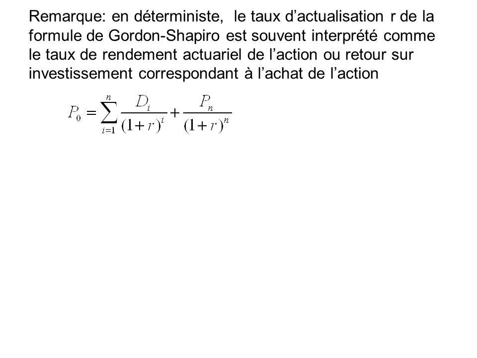 Remarque: en déterministe, le taux dactualisation r de la formule de Gordon-Shapiro est souvent interprété comme le taux de rendement actuariel de lac