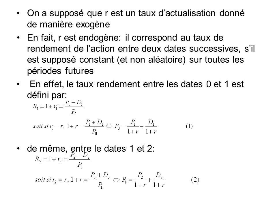 En reportant dans léquation (1) lexpression de P 1 en fonction de P 2, (équation (2)), puis celle de P 2 en fonction de P 3 etc…on trouve: Ce qui correspond à lexpression initiale de P 0 :