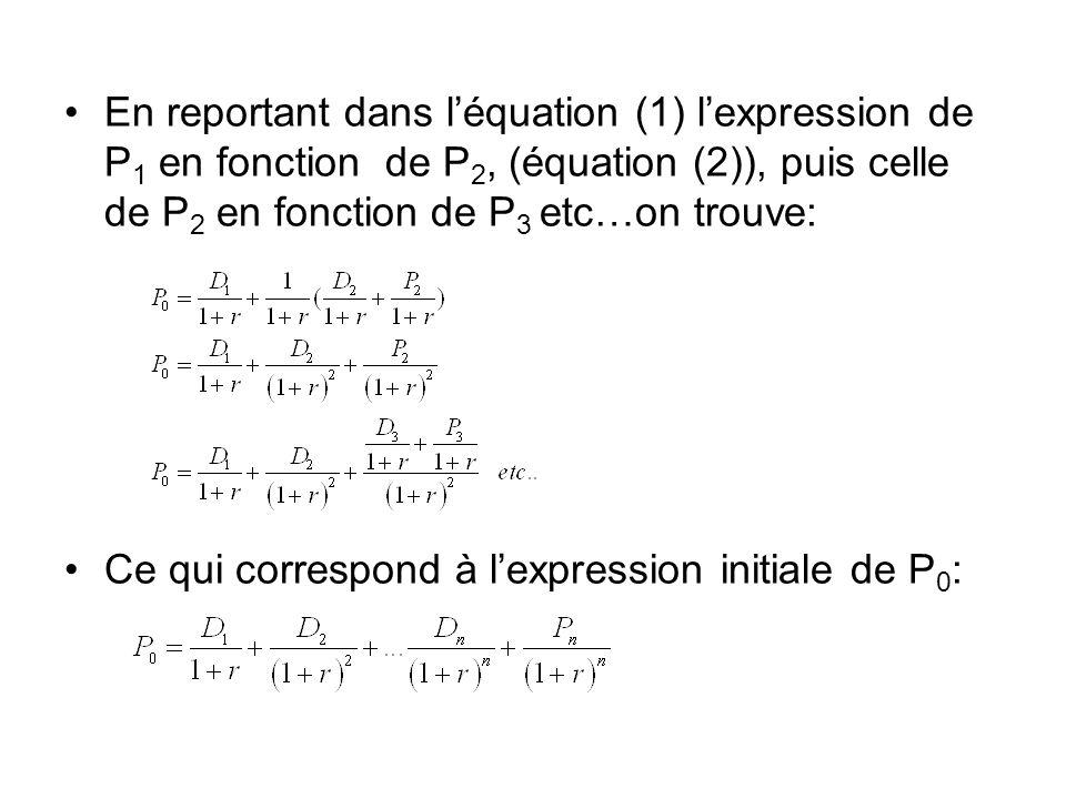 En reportant dans léquation (1) lexpression de P 1 en fonction de P 2, (équation (2)), puis celle de P 2 en fonction de P 3 etc…on trouve: Ce qui corr