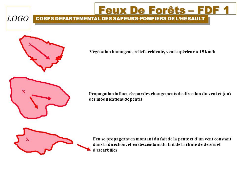 Feux De Forêts – FDF 1 CORPS DEPARTEMENTAL DES SAPEURS-POMPIERS DE LHERAULT LOGO X X X Végétation homogène, relief accidenté, vent supérieur à 15 km/h
