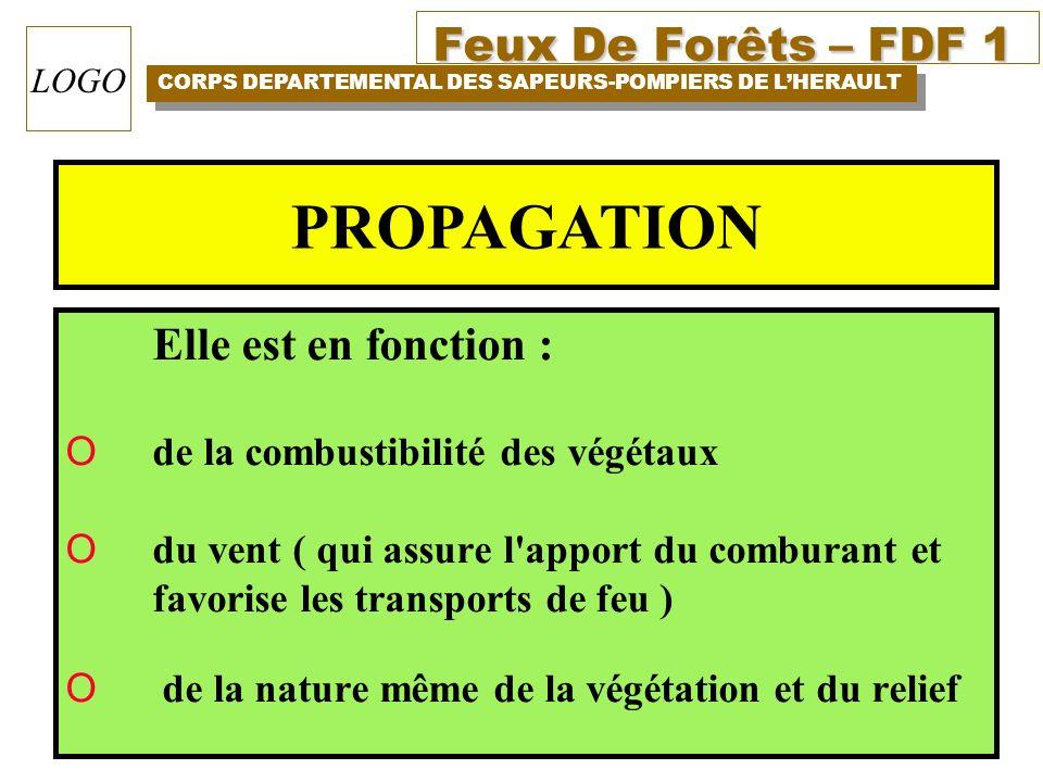 Feux De Forêts – FDF 1 CORPS DEPARTEMENTAL DES SAPEURS-POMPIERS DE LHERAULT LOGO Elle est en fonction : O de la combustibilité des végétaux O du vent