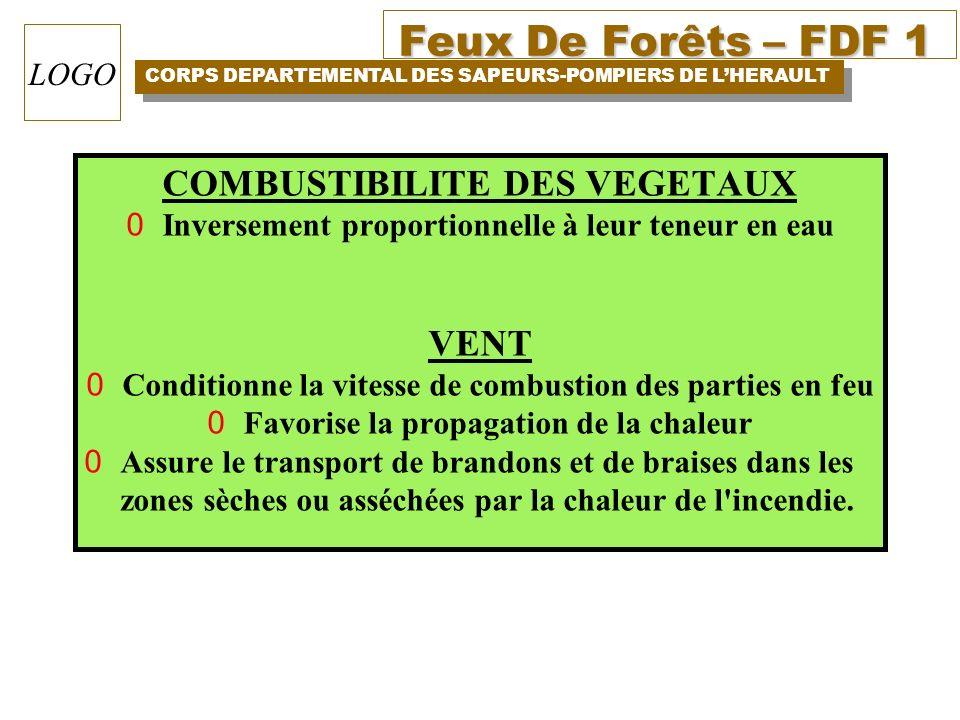 Feux De Forêts – FDF 1 CORPS DEPARTEMENTAL DES SAPEURS-POMPIERS DE LHERAULT LOGO COMBUSTIBILITE DES VEGETAUX 0Inversement proportionnelle à leur teneu