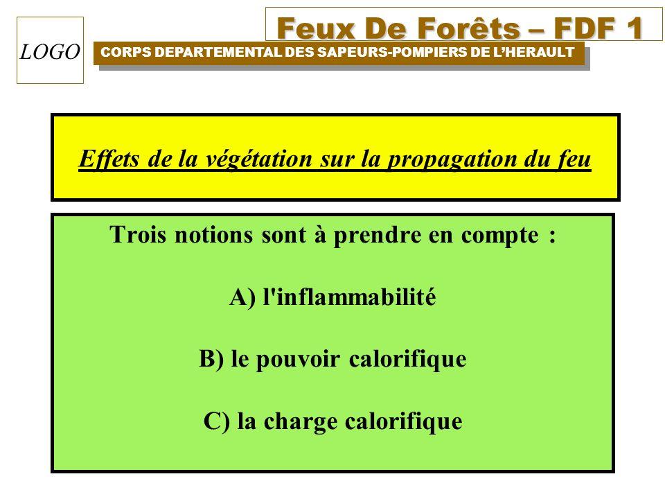 Feux De Forêts – FDF 1 CORPS DEPARTEMENTAL DES SAPEURS-POMPIERS DE LHERAULT LOGO Trois notions sont à prendre en compte : A) l'inflammabilité B) le po