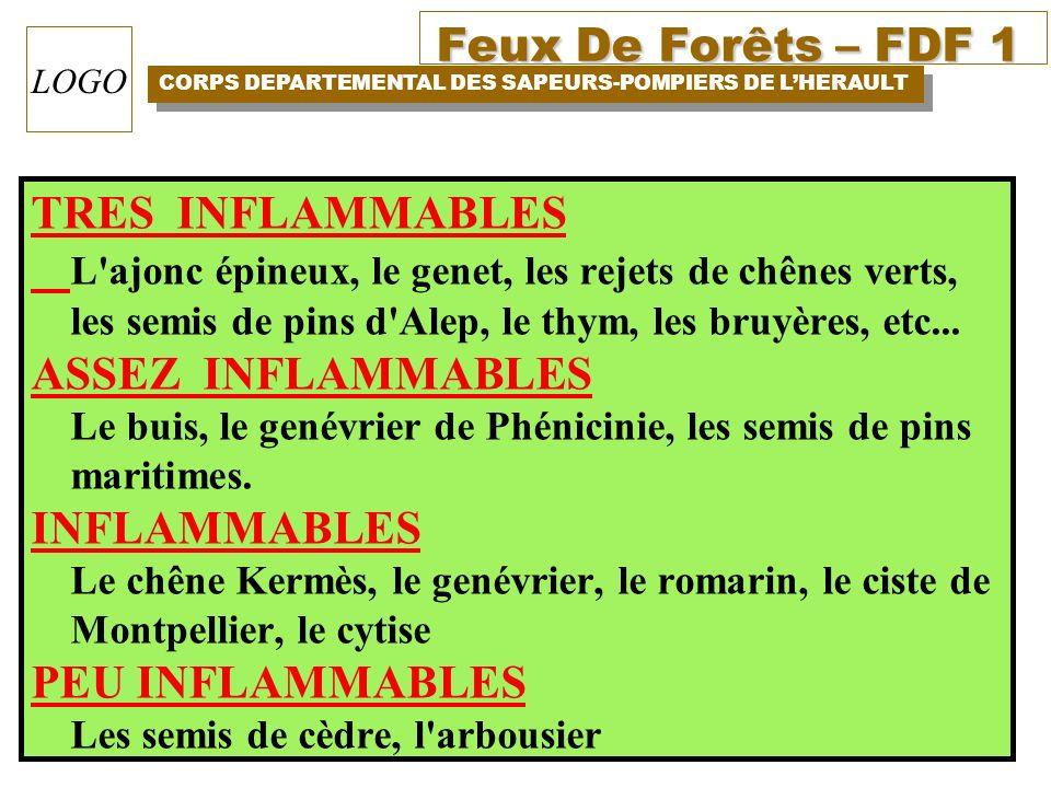 Feux De Forêts – FDF 1 CORPS DEPARTEMENTAL DES SAPEURS-POMPIERS DE LHERAULT LOGO TRES INFLAMMABLES L'ajonc épineux, le genet, les rejets de chênes ver