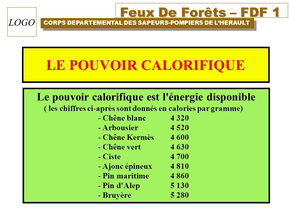 Feux De Forêts – FDF 1 CORPS DEPARTEMENTAL DES SAPEURS-POMPIERS DE LHERAULT LOGO LE POUVOIR CALORIFIQUE Le pouvoir calorifique est l'énergie disponibl