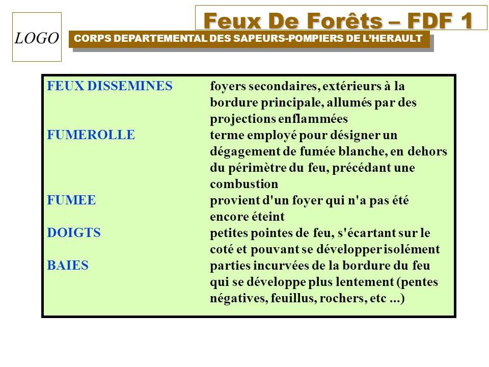 Feux De Forêts – FDF 1 CORPS DEPARTEMENTAL DES SAPEURS-POMPIERS DE LHERAULT LOGO FEUX DISSEMINES foyers secondaires, extérieurs à la bordure principal
