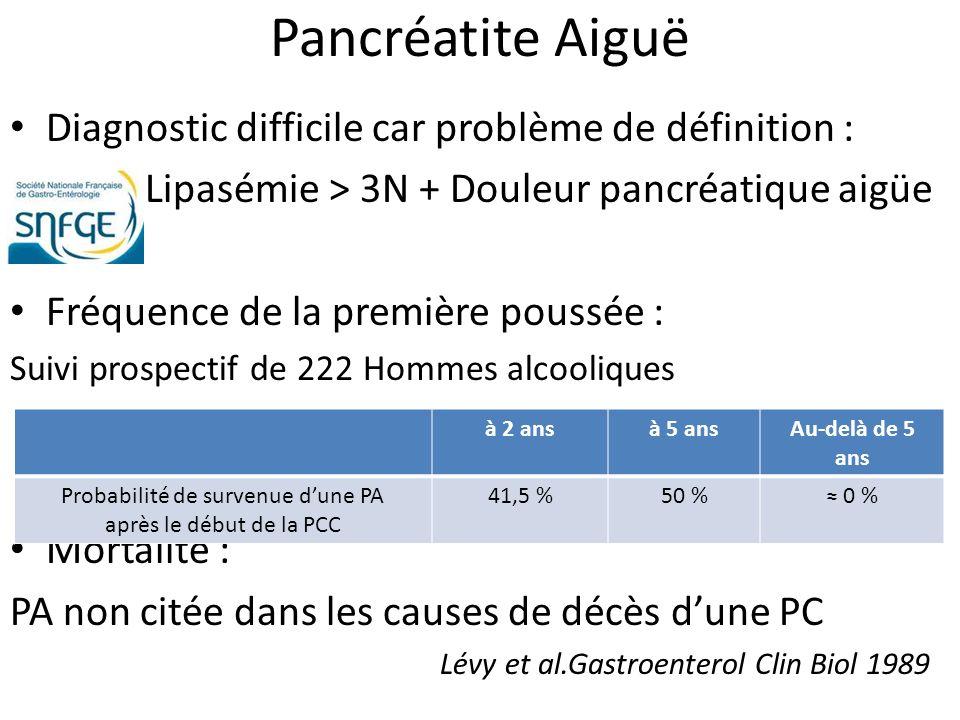 Pancréatite Aiguë Diagnostic difficile car problème de définition : Lipasémie > 3N + Douleur pancréatique aigüe Fréquence de la première poussée : Sui