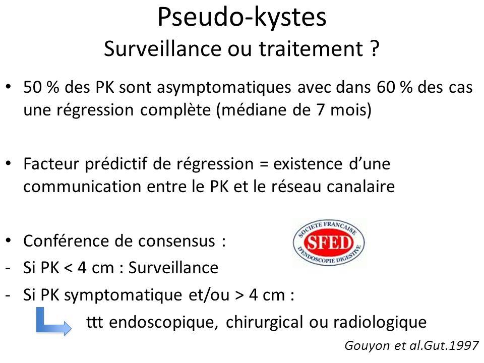 Pseudo-kystes Surveillance ou traitement ? 50 % des PK sont asymptomatiques avec dans 60 % des cas une régression complète (médiane de 7 mois) Facteur