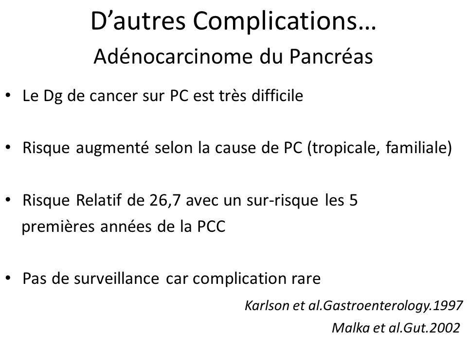 Dautres Complications… Adénocarcinome du Pancréas Le Dg de cancer sur PC est très difficile Risque augmenté selon la cause de PC (tropicale, familiale