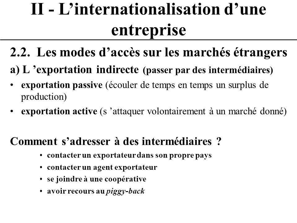2.2. Les modes daccès sur les marchés étrangers a) L exportation indirecte (passer par des intermédiaires) exportation passive (écouler de temps en te