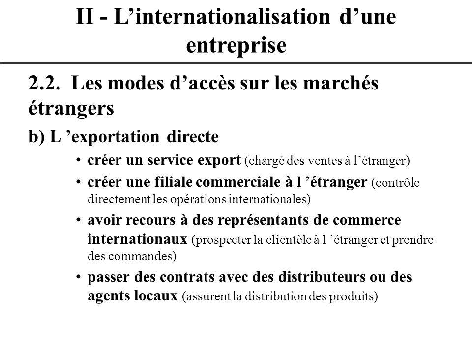 2.2. Les modes daccès sur les marchés étrangers b) L exportation directe créer un service export (chargé des ventes à létranger) créer une filiale com